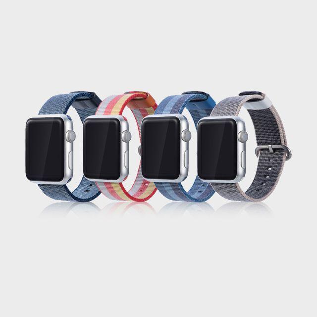 [천삼백케이] [하이가이] 애플워치 5 4 3 2 1 루프백 벨크로 스트랩, 핑크&레드