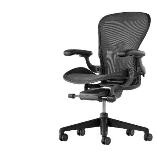 [HERMANMILLER] 허먼 밀러 헤만 밀러 에어론 뉴 인체공학의자 컴퓨터 의자 업데, 01 나일론 발, 01 회전승강손잡이, 01 흑연+4D손잡이+작은 사이즈