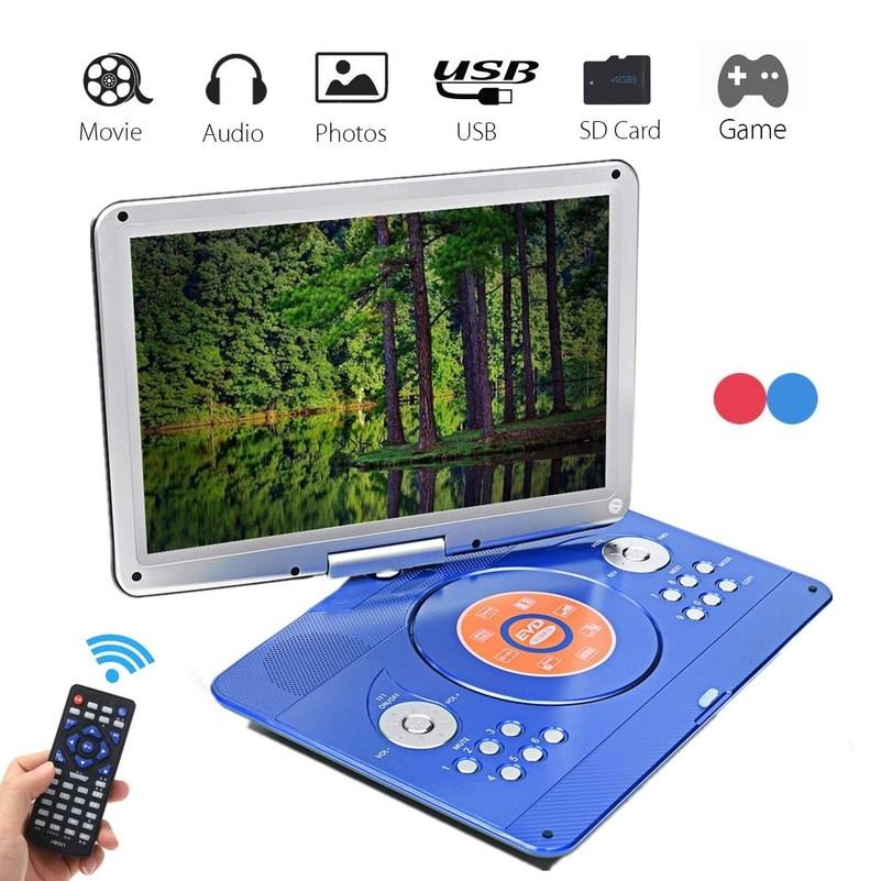 회전식 스크린 멀티 미디어 DVD 14 인치 휴대용 DVD 플레이어 게임 TV 기능 지원 MP3 MP4 VCD CD 플레이어 가정용 및 자동차 용, 협력사, 빨간 (POP 5411516775)