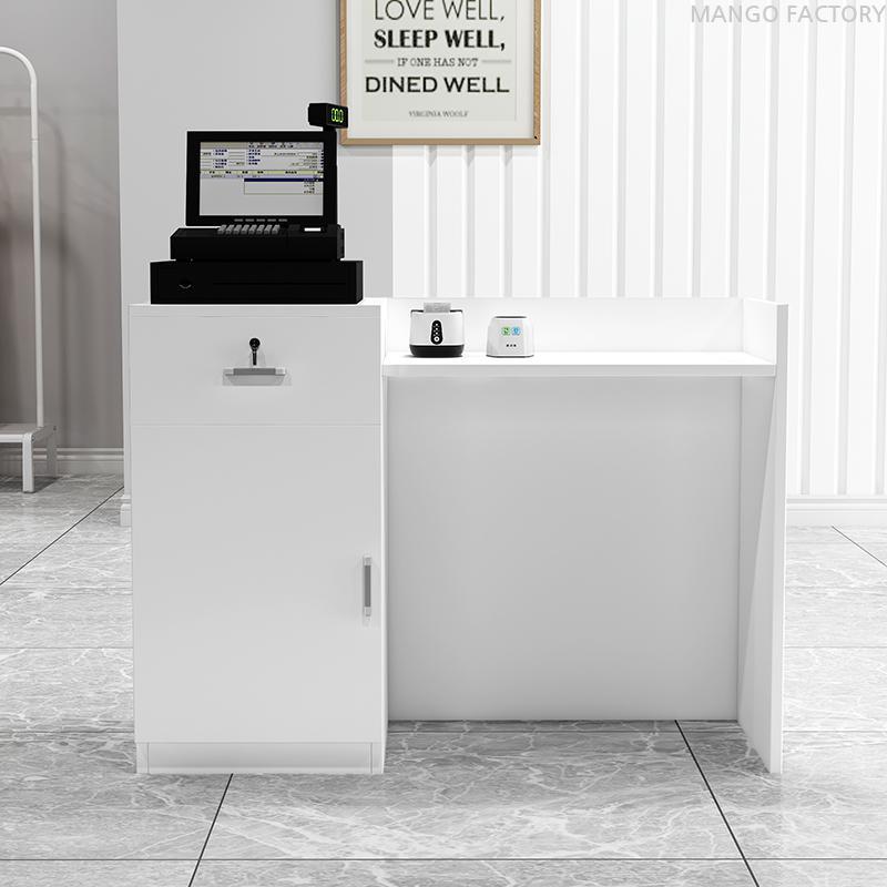 MANGOFACTORY 인포메이션 카운터테이블 미용실 식당 안내데스크 5종, 화이트 100x80x42cm