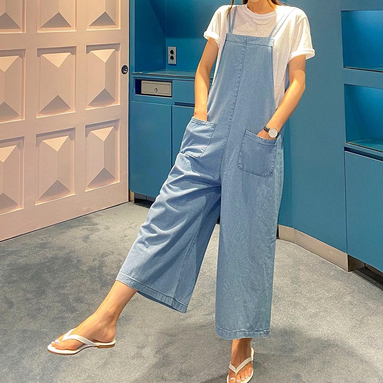 리틀마켓 여성용 두줄 끈 데님 민소매 점프수트 OE28B0