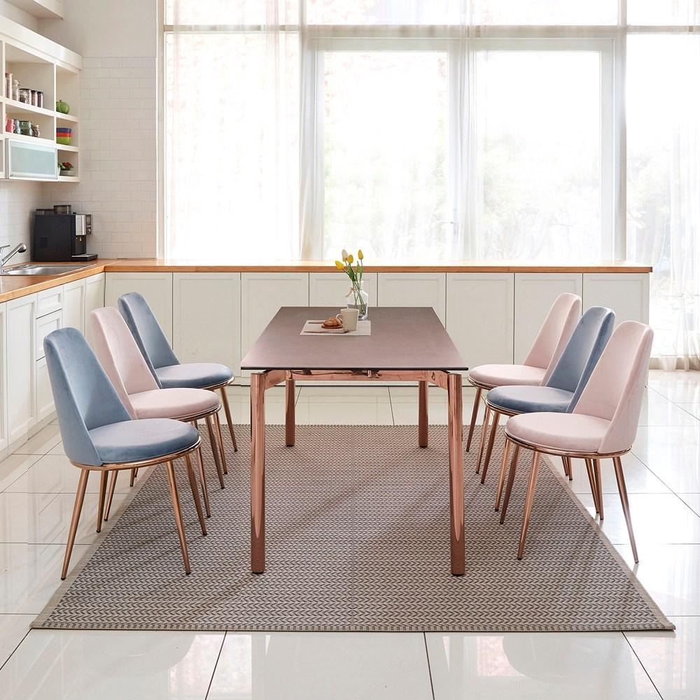 홈스토리 로즈골드 프레임 세라믹식탁세트 6인 파르테논, 마리안느일반형(마리안느의자 6개)