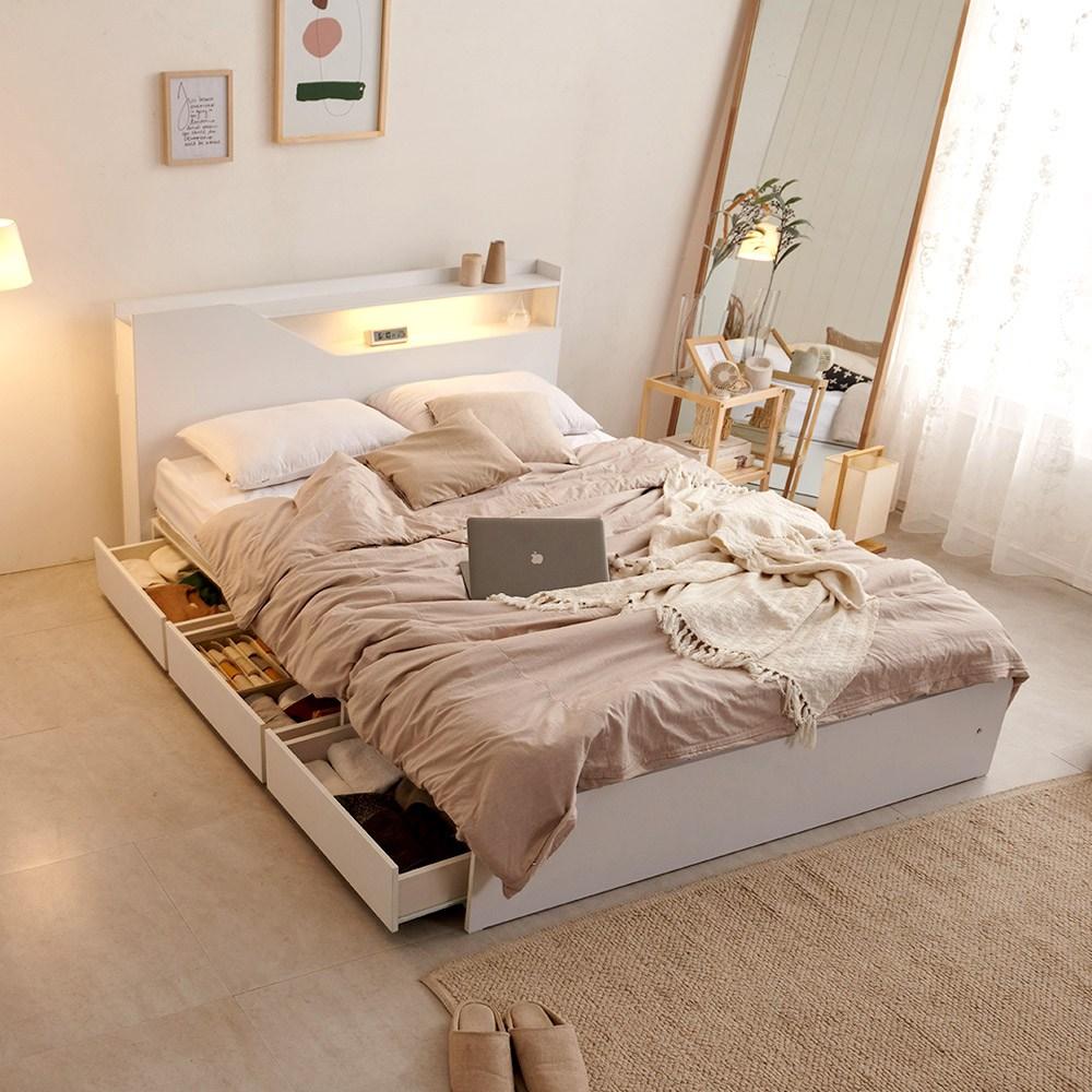 크렌시아 젠느 LED 수납형 킹 침대 K+본넬 매트리스, 화이트