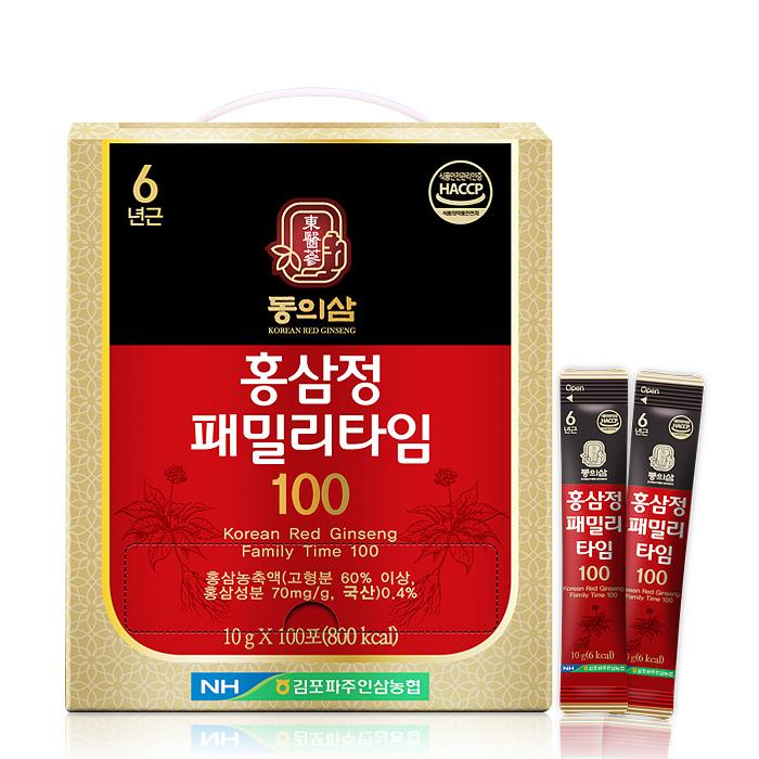 동의삼 홍삼정 패밀리타임 100포 6년근 홍삼 대용량 스틱 하루 1포 (3달치)