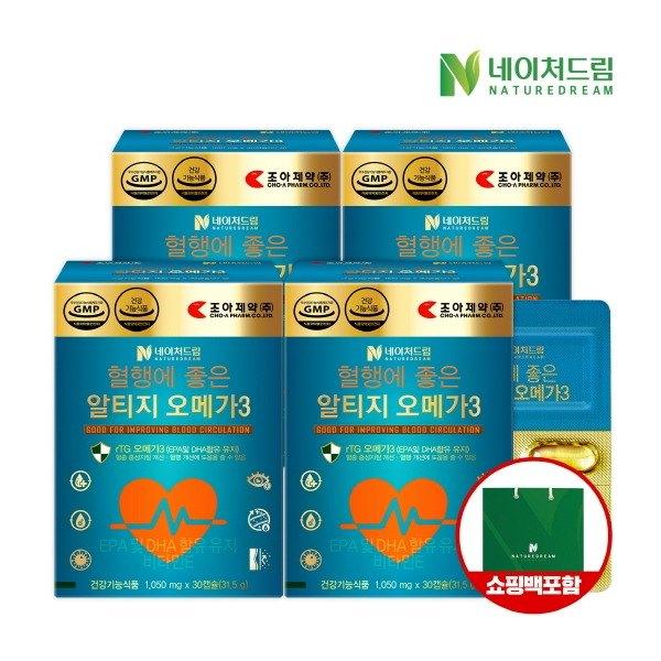 [조아제약] 혈행에 좋은 알티지 오메가3 1050mg x 30캡슐 4박스, 상세 설명 참조, 상세 설명 참조