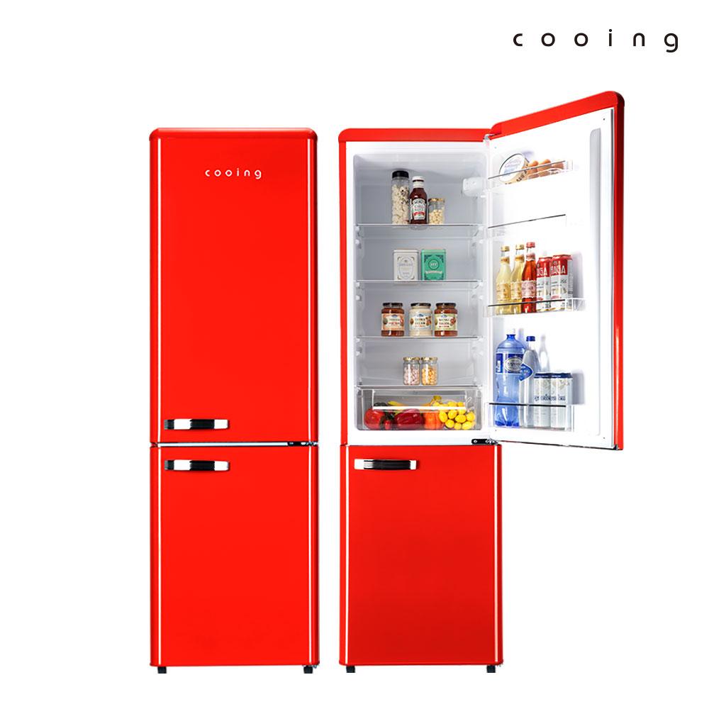 쿠잉 레트로 냉장고 REF-C270R 251L 콤비/소형/투도어, 단품