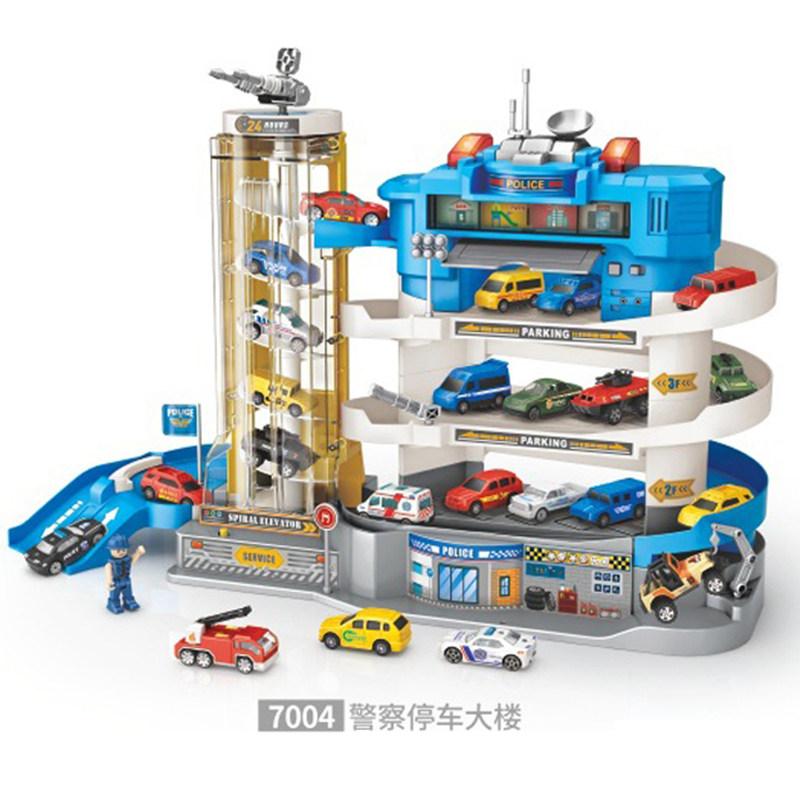 타요 주차 컨트롤 타워 빌딩 어린이 장난감, 배송 배터리+드라이버, 블루