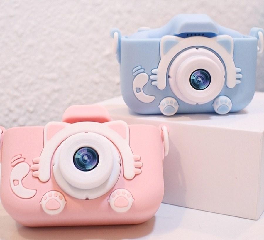 노브랜드 고양이발카메라 SLR 만화 장난감 디카 듀얼 HD 선물, 블루