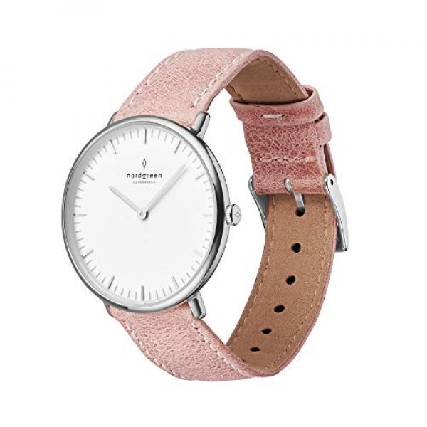 노드 그린 네이티브 스칸디나비아 여성용 시계 실버 화이트 다이얼 및 교체 가능한 36mm 가죽 스트랩 핑크 10067