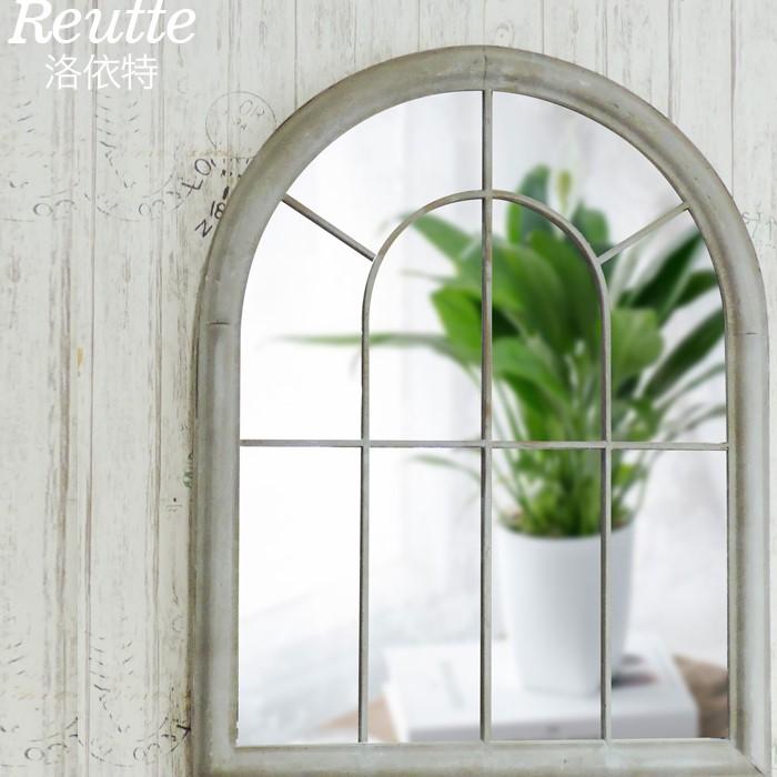 인테리어 빈티지 창문 디자인 아치형 벽 거울, 타일그레이