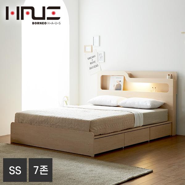 보루네오하우스 프라임 올슨 LED 서랍 SS 침대+7존독립매트 DM6218, 메이플