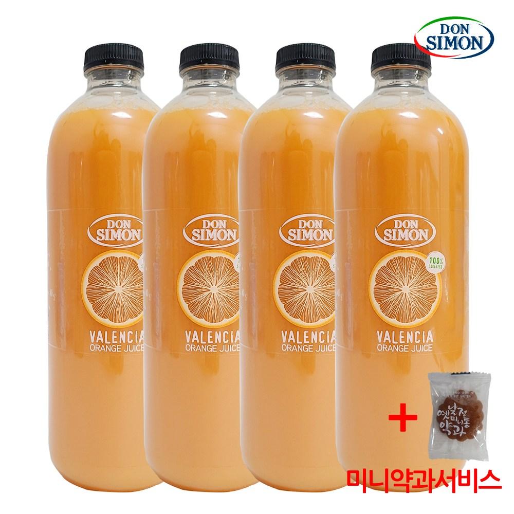 코스트코 돈시몬 발렌시아 오렌지주스 100% 무가당 착즙+미니약과1개서비스, 4개, 1L