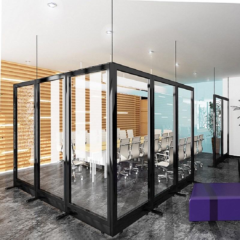 아이원퍼니처 60T 올 유리 파티션 H1500 투명강화유리, 메탈/투명유리/H1500*W1000