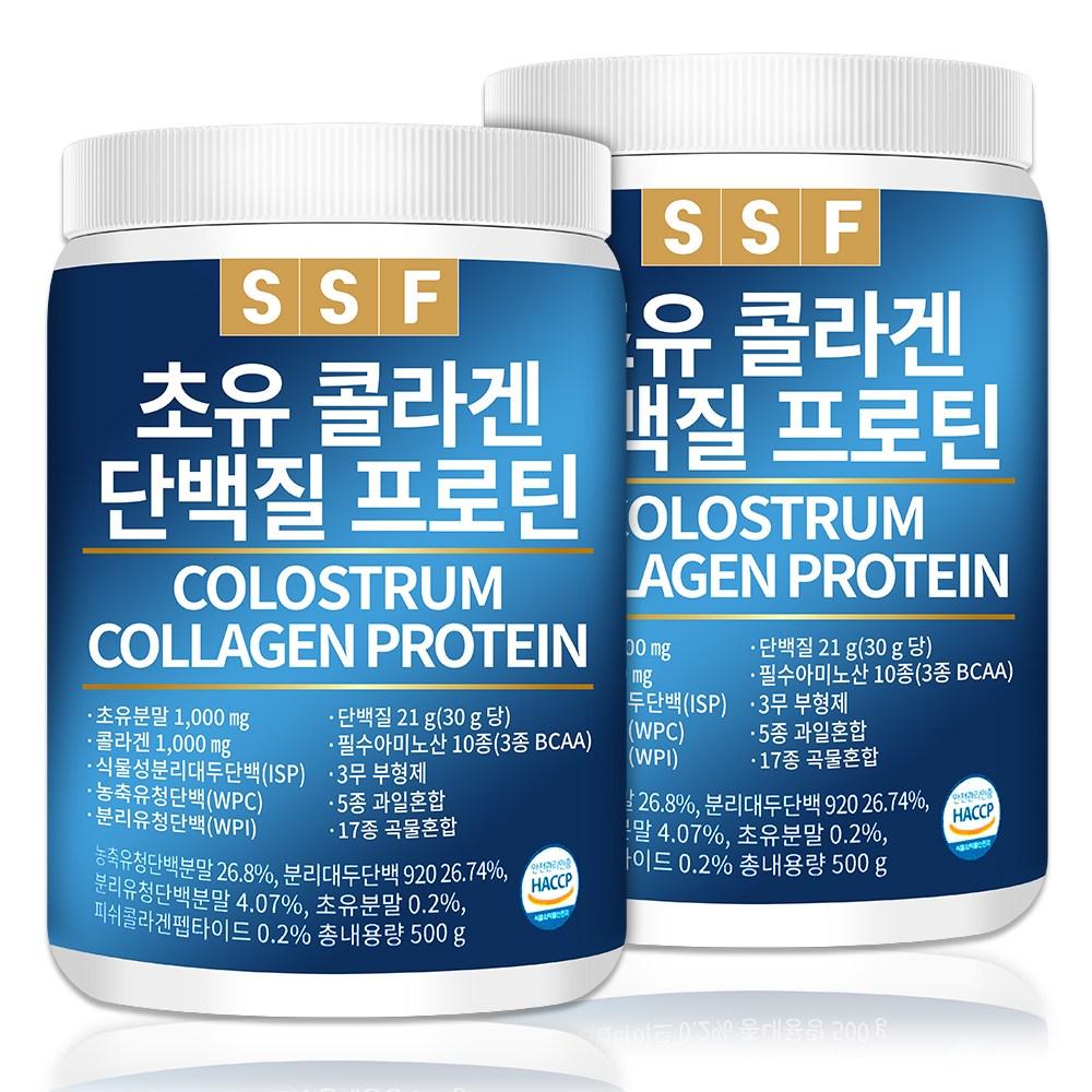 순수식품 초유 콜라겐 단백질 프로틴 쉐이크 2통(1000g) 파우더 분말 가루 보충제, 500g, 2통