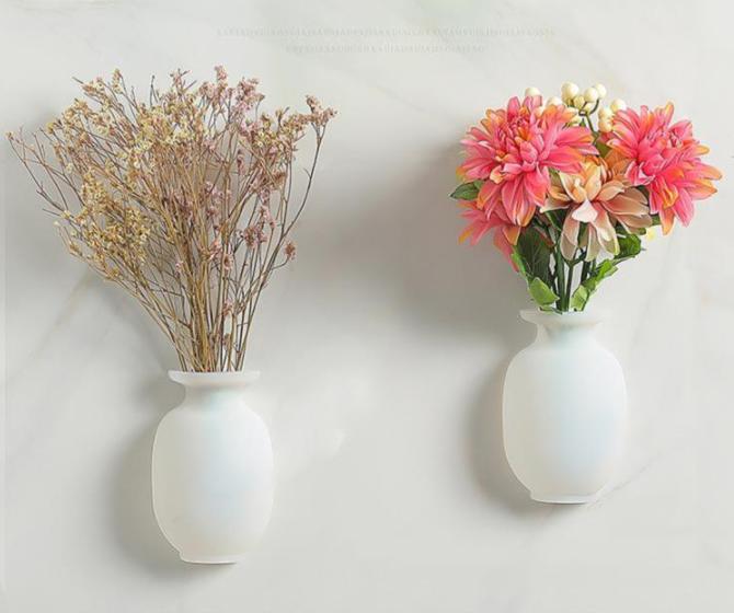 3개 한세트 깨지지 않는 로맨틱 꽃병 실리콘 벽 화분, 화이트꽃병 3개
