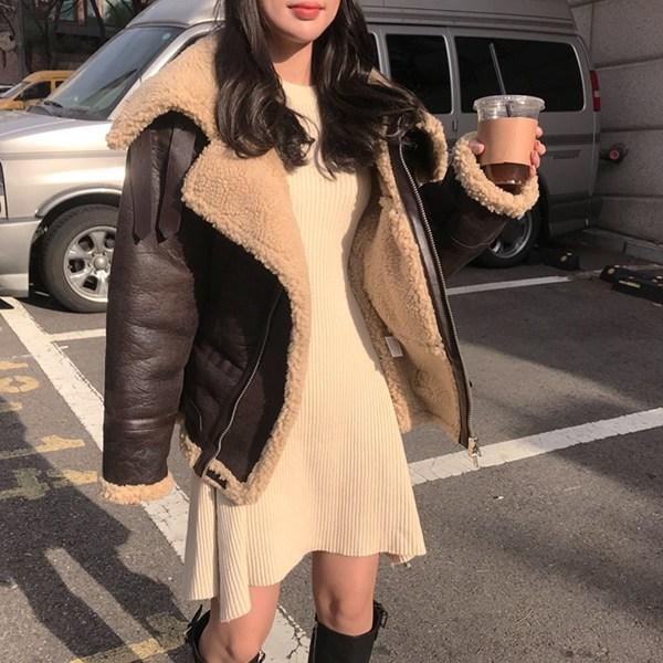 바비수아 아인슈페너 여성 양털 무스탕 자켓