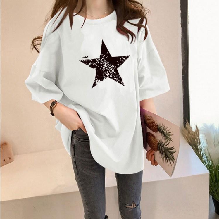 스타일아유 STAR 오버핏 반팔티 스타 로고 여성용 롱 빅사이즈 박시 반팔티셔츠 반팔 티셔츠