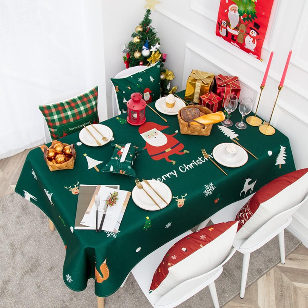 레드 체크 크리스마스 식탁보 산타 테이블보 파티 캠핑 식탁커버 연말 4인용 6인용 방수, 140x140CM, 산타클로스