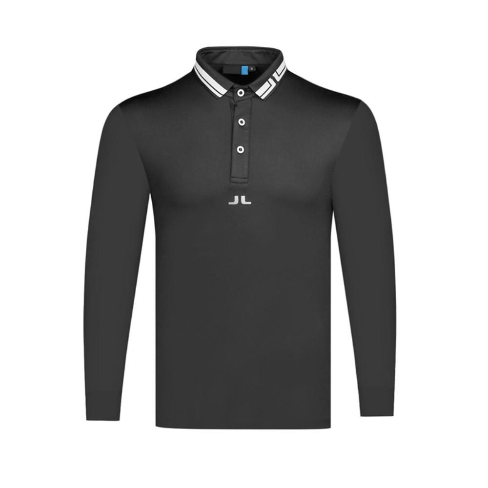 제이린드버그 남성골프웨어 가을 새로운 폴로 셔츠 통기성 위킹 슈트, 검정