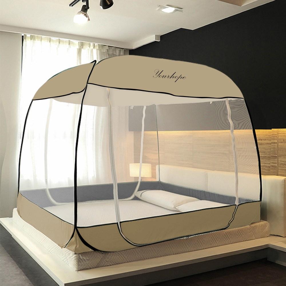 원터치모기장 텐트형 사각침대모기장 디자인 모기장, 심플 아이보리(M-IV03)