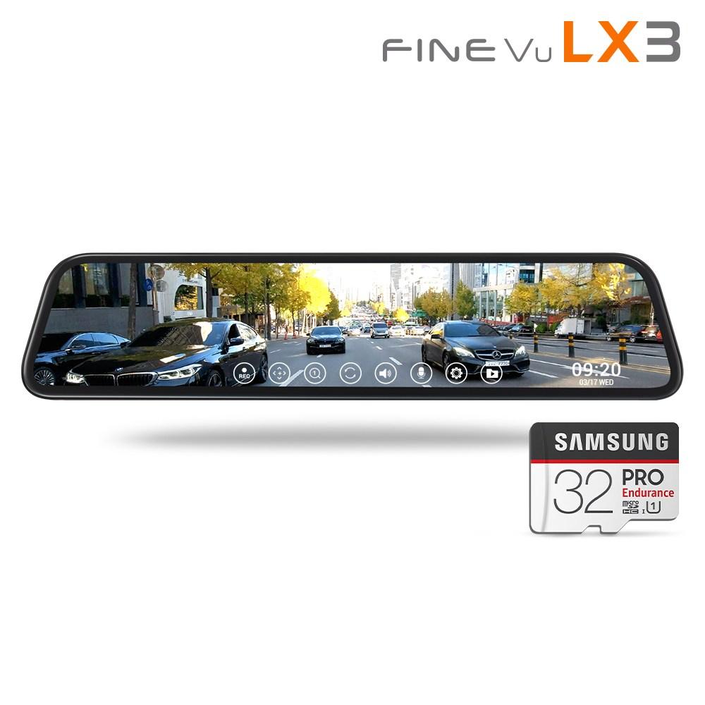 [출장설치+GPS] 파인뷰 LX3 전후방 FHD 2채널 룸미러 블랙박스 128GB 삼성 SD카드 28.8cm 대화면, LX3 128GB 후방 실내형 출장설치
