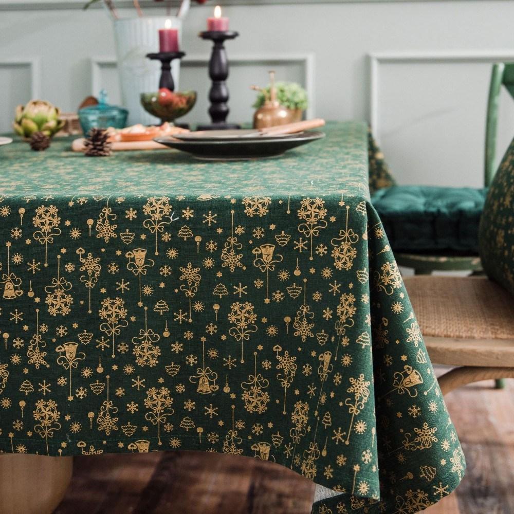 이쁜 크리스마스 식탁보 성탄절 테이블보 야마식탁보, 140x200, 녹색 브론 징
