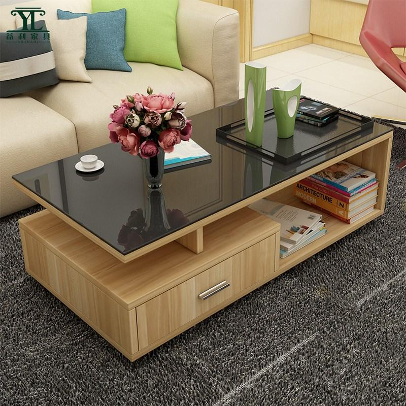 거실테이블 티테이블 강화유리 차탁자 심플 모던 거실 소형 직사각형 탁자 C0512베이지 옅은브라운우드검은유리 무화