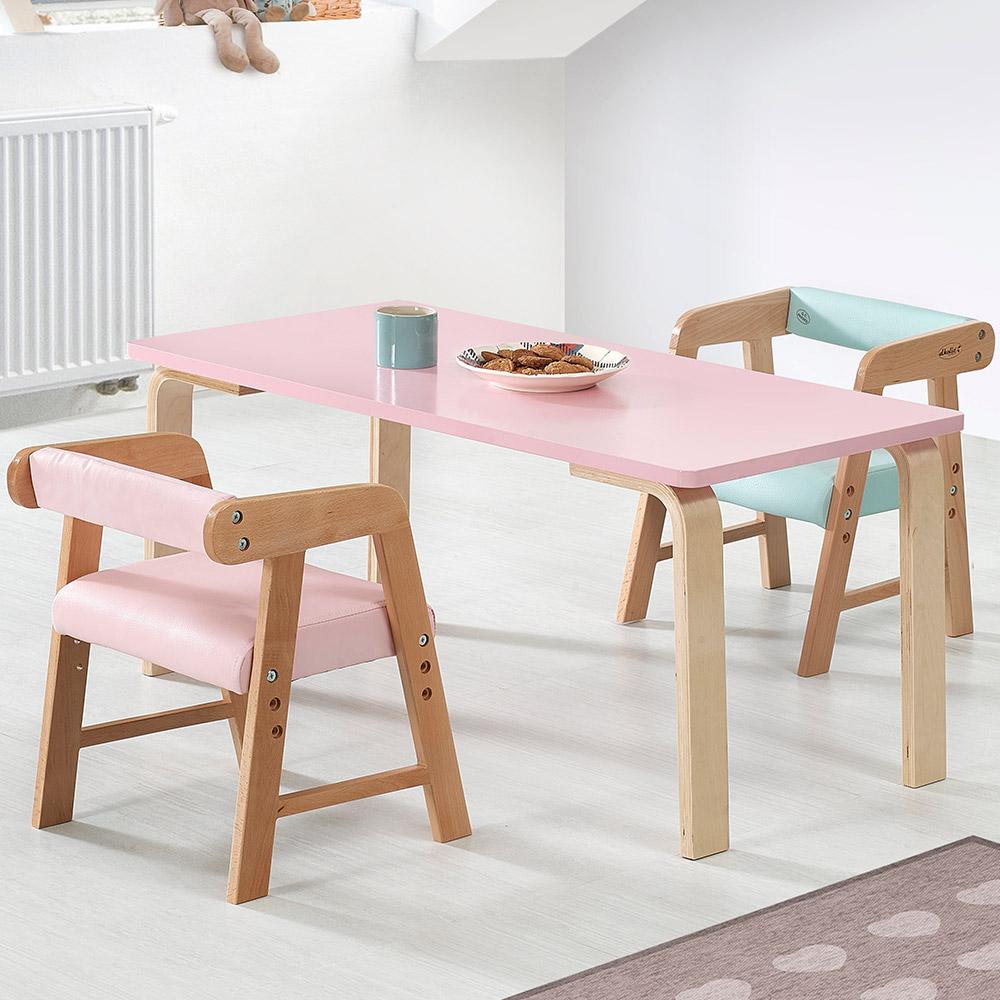 토리 원목 유아 파스텔의자 직사각 책상세트 2-7세, 유아 직사각 내추럴 책상 / 파스텔의자 하늘+분홍