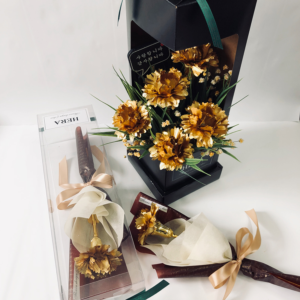 천사로즈 '어버이날 스승의날' 황금카네이션 한송이꽃다발, 금카네이션 한송이꽃다발