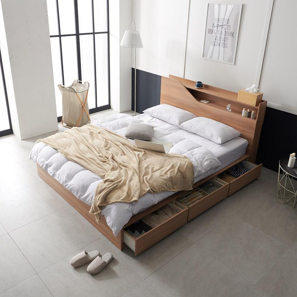 크렌시아 젠느 LED 수납형 킹 침대 K+본넬 매트리스, 아카시아
