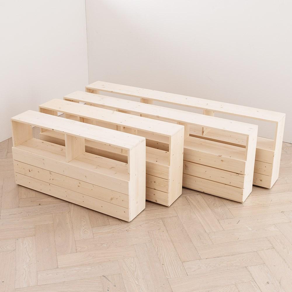 심플먼트 포인 북유럽 스타일 삼나무 원목 저상형 깔판 프레임(6size), 포인 수납 헤드