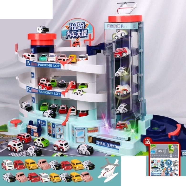 5층 대형 장난감 주차 타워 자동 엘리베이터 전동 컨트롤 작동 선물 서프라이즈 휴대폰 끊는법, 오버사이즈 주차장+LED+차16+비행기1