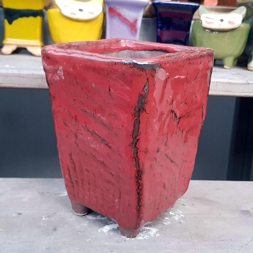 제이팟다육 dm 긴사각 수제화분 다육이화분 105, 빨강