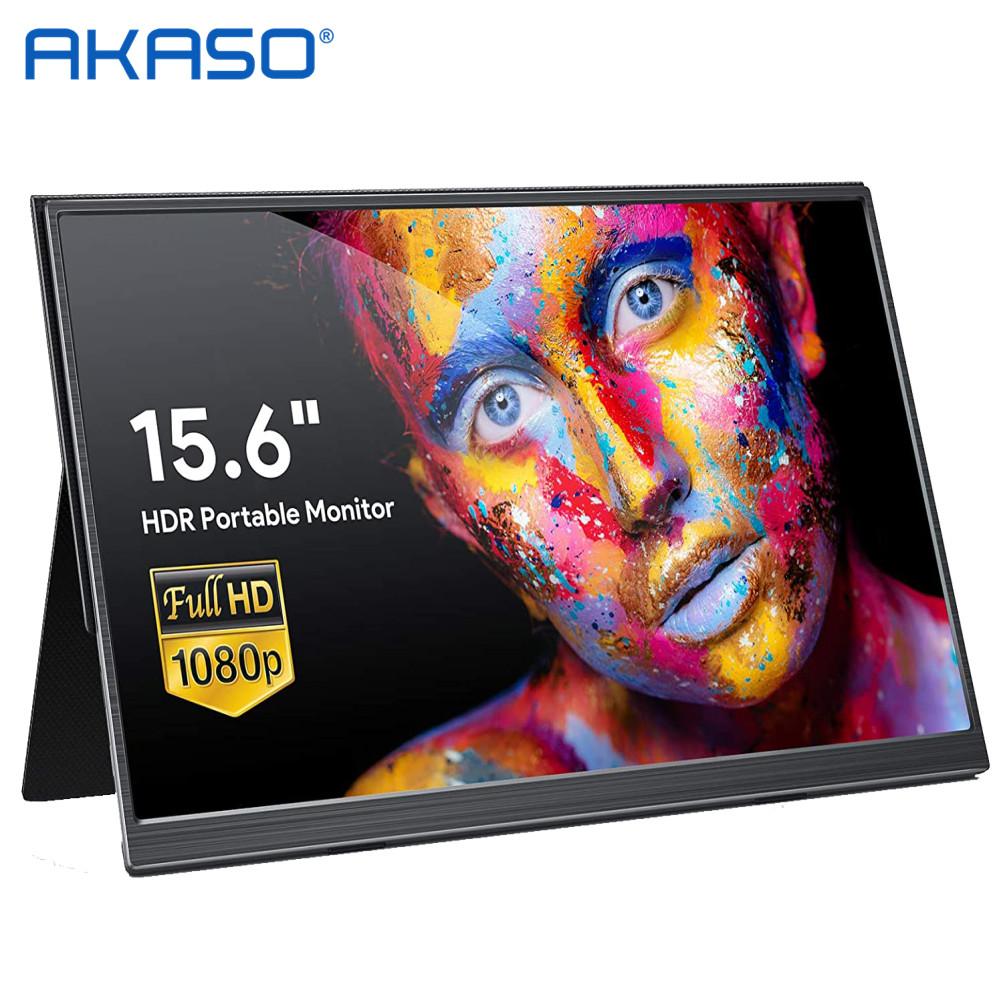 아카소 39.6cm 15.6 Full HD 4k IPS 휴대용 모니터, 1080P, T15A, 기본 버전 + 가죽 케이스