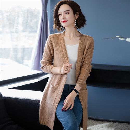 여성 캐시미어 가디건 Erdos 스웨터 니트 중간 길이 두꺼운 코트 봄과 가을에서 생산