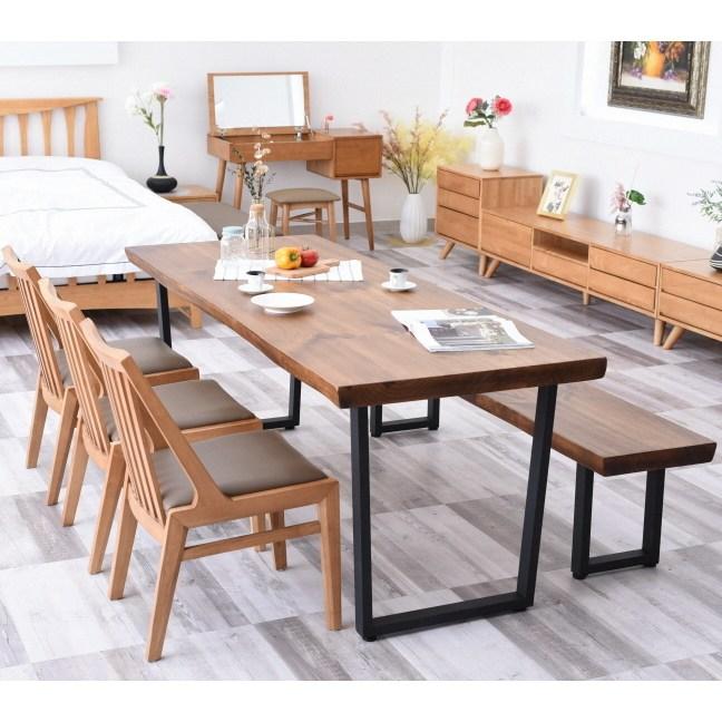 뉴송 우드슬랩 원목 6인용 식탁세트 대형 2000사이즈 4인용식탁, 2000테이블+1800벤치+의자3개
