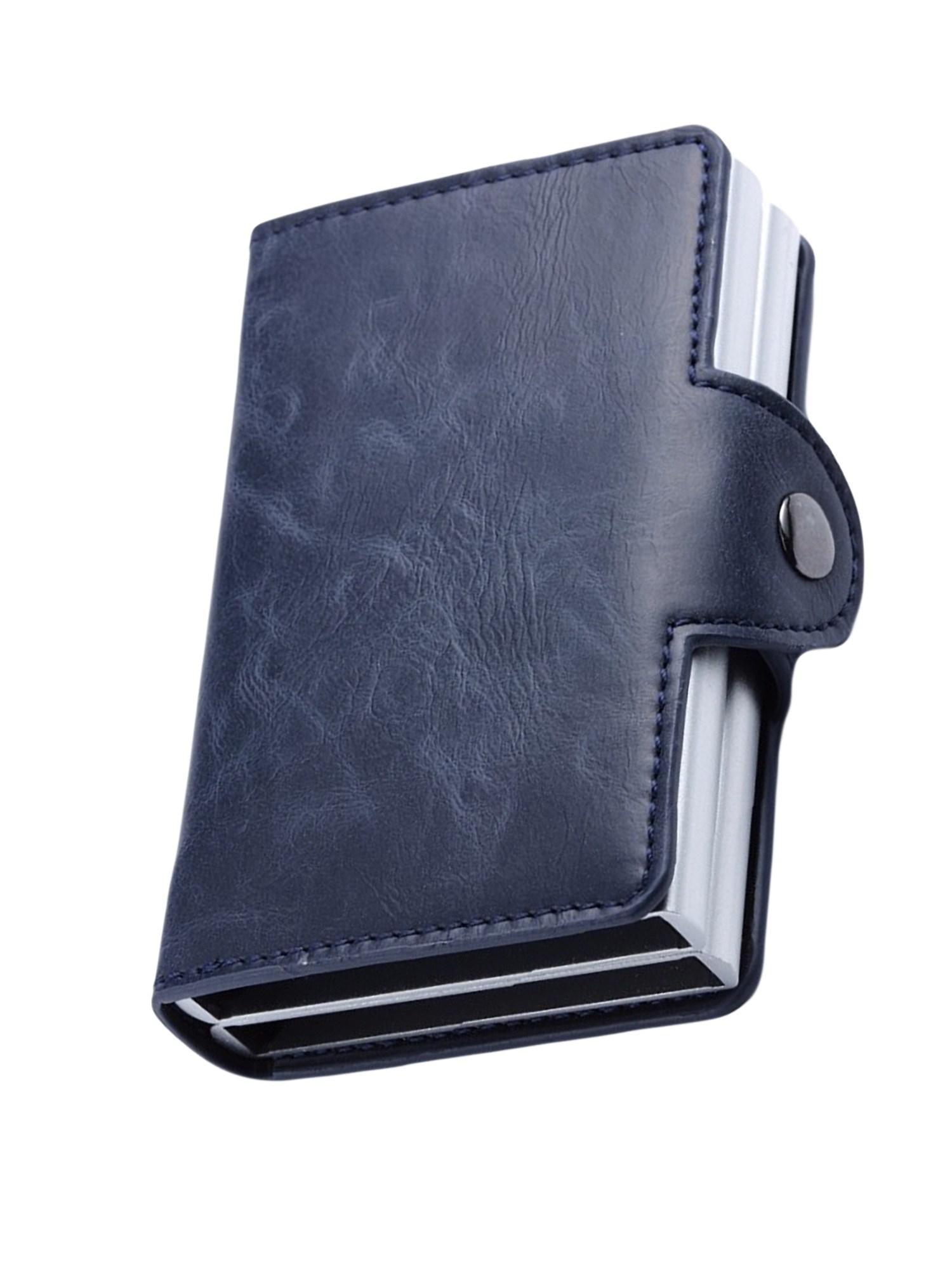 남녀 이중 알루미늄 카드 홀더 가죽 RFID 지갑