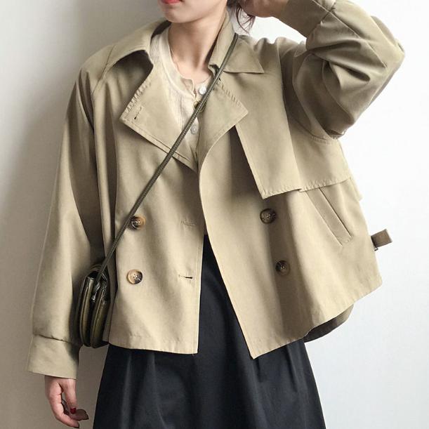 HY 여성용 빅사이즈 숏트렌치 코트 재킷