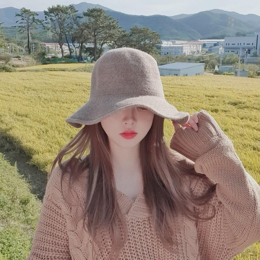 양모 니트짜임 와이드챙 벙거지 버킷햇 겨울 모자