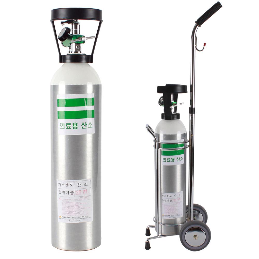 그랜드메디 휴대용 산소호흡기 4.6L(산소통+레귤레이터+콧줄+마스크+바퀴카트), 1개 (POP 1272270615)