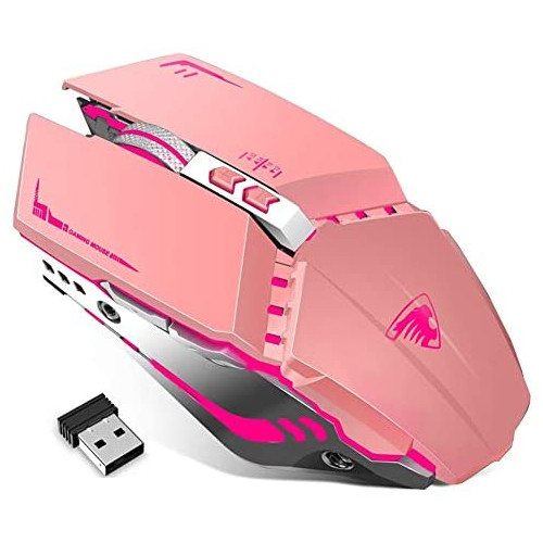 게이밍마우스 TENMOS T12 Wireless Gaming Mouse Rechargeable 2.4G Silent Optical Wireless Computer Mice with Changeable LED Light Compatible with Laptop, 본문참고, Color = pink