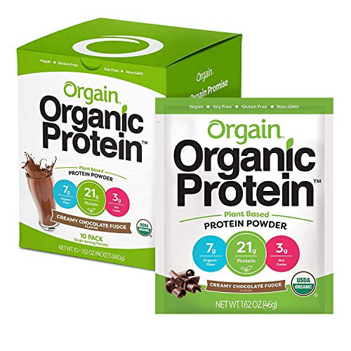 Orgain Organic Plant Based Protein Powder Travel Pack Creamy Chocolate Fudge 10 Count, 본문참고, 옵션 2 Size = 2.03 Pound (Pack of 1) | Style = Chocolate