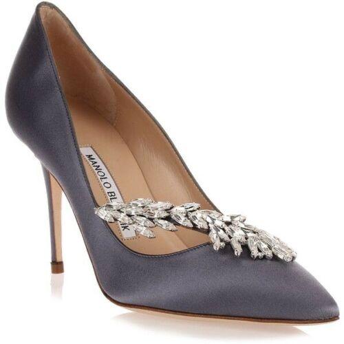 NEW MANOLO BLAHNIK Nadira Blue Satin Crystal Leaf Heels Pump Hangisi Shoe 40