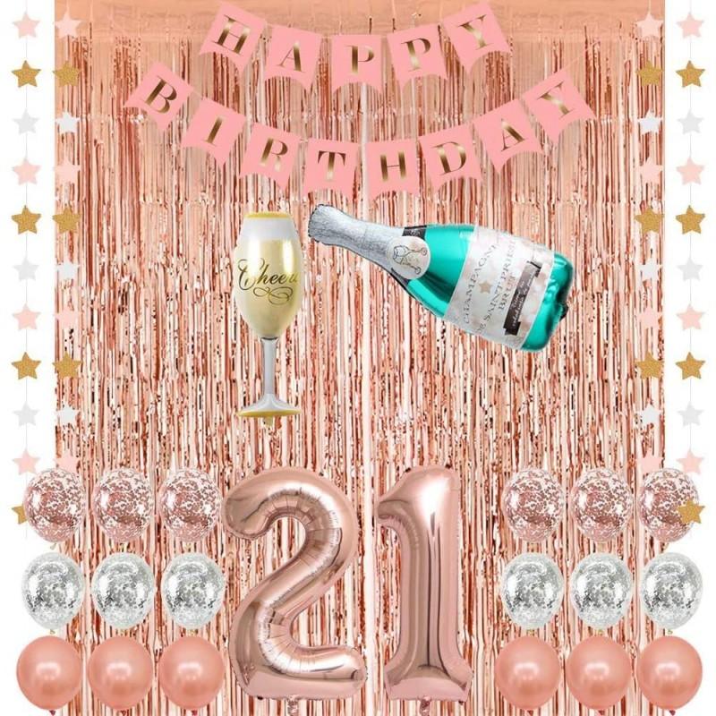 로즈 골드 21 생일 파티 장식 용품 샴페인 풍선 핑크 해피 생일 배너 21개 풍선 로즈 골드 포일 프린지 커튼 마지막으로, 단일옵션