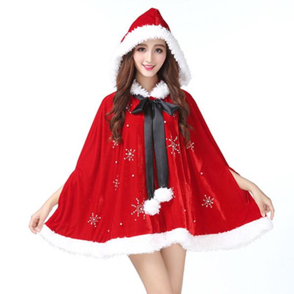 30prodcmall 크리스마스 여성 산타 코스프레 골드 벨벳 의류 성인