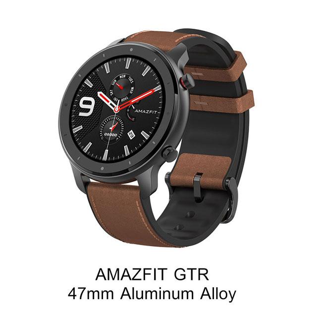 [해외]Amazfit GTR 47mm 스마트 시계 샤오미 Huami 5ATM 방수 Smartwatch, OneSize, AlloyAdd OrangeBlack 350852
