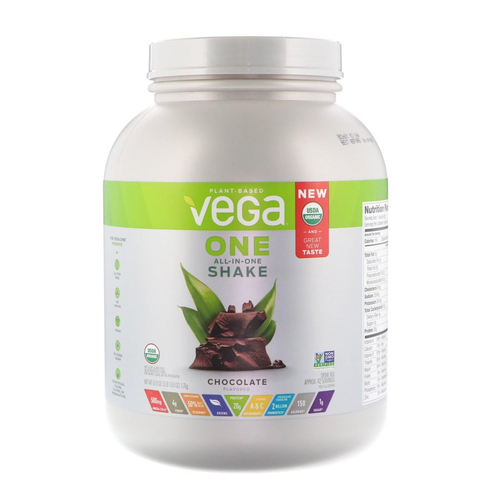 베가 One 올 인 원 셰이크 초콜릿 3 lbs 1.7 kg 식물성 단백질, 1개, -