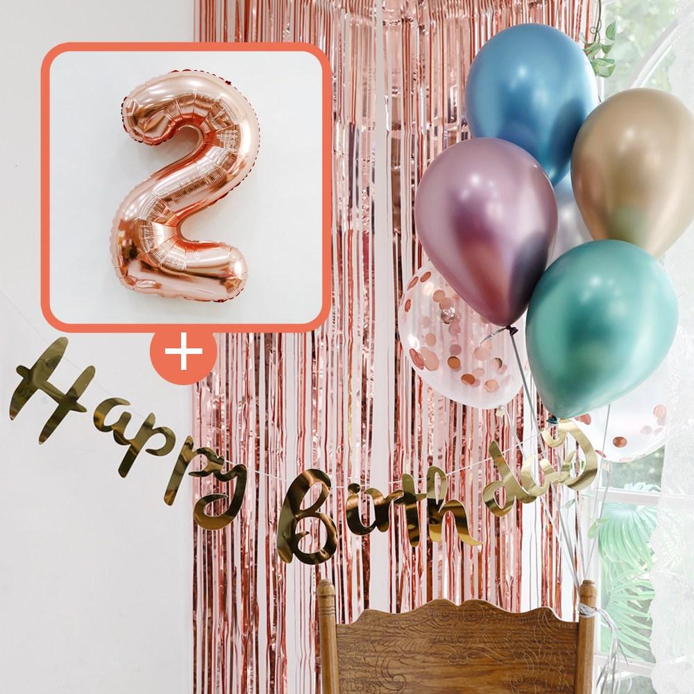 e베이비랜드 생일파티 4종세트 _ 파티용품, 생일파티 4종세트(메탈크롬)_숫자풍선(로즈골드)_2