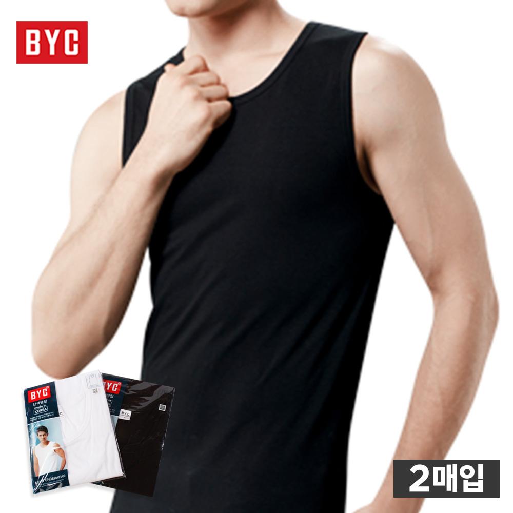 BYTMZ1006 비와이씨 단색 남자 런닝 나시 난닝구 민소매 2매1세트