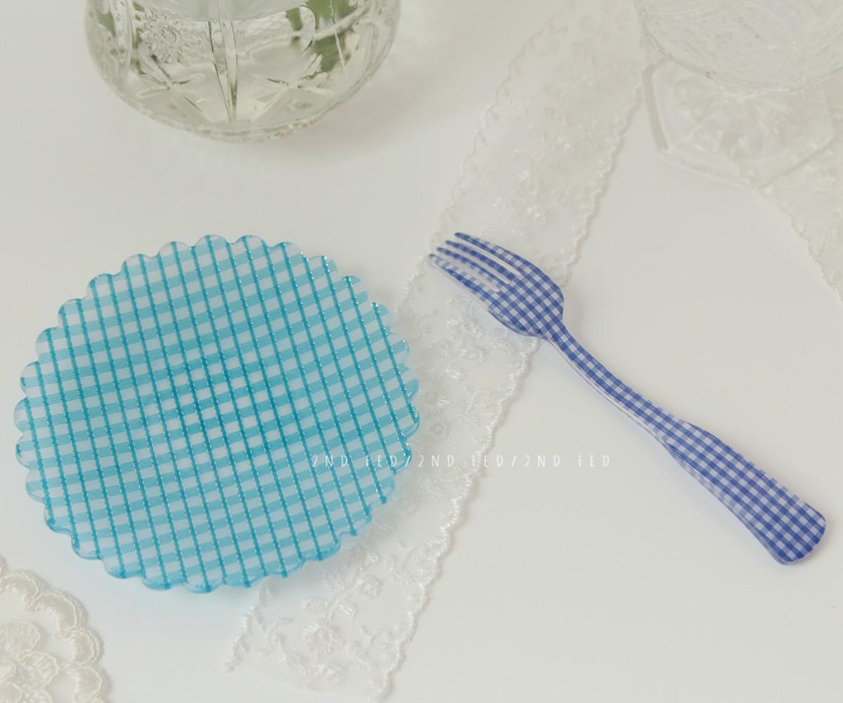 레트로 체크 플라워 플레이트 12종 빈티지 접시 감성 브런치 귀여운 꽃무늬 안깨지는 그릇, 스몰 블루 체크